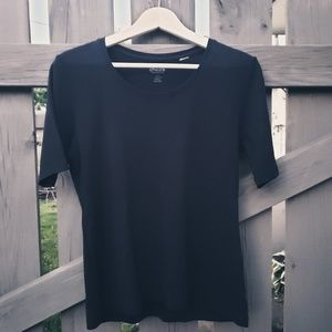 Chico's Black Size Small Short Sleeve Tee Shirt